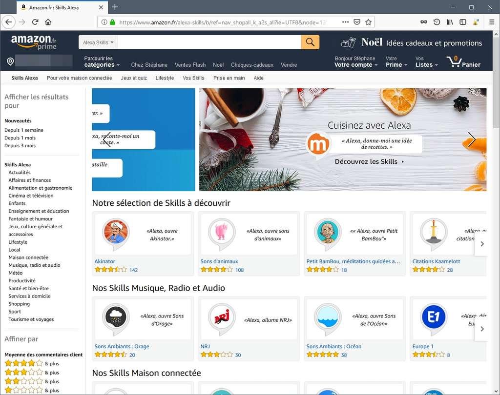 Les skills d'Alexa sont disponibles depuis le site Amazon. © SR/Futura