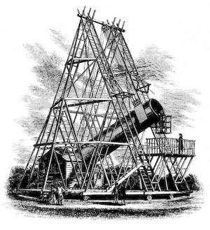 Le plus grand télescope réalisé et utilisé par William Herschel faisait 1,22 mètre de diamètre pour 12 mètres de long.