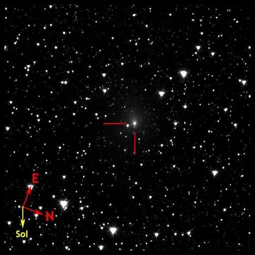 La comète Hartley 2 photographiée par la sonde Epoxi le 25 septembre dernier, soit 40 jours avant la rencontre prévue le 4 novembre. La sonde était alors à 41 millions de kilomètres. © Nasa/JPL/UMD