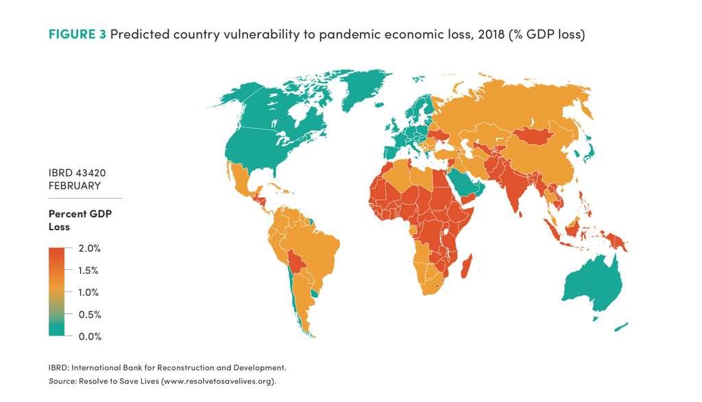 Sur le plan économique, les plus impactés seront les pays pauvres comme le montre cette carte prédictive. © International Bank for Reconstruction and Development, Resolve to Save Lives