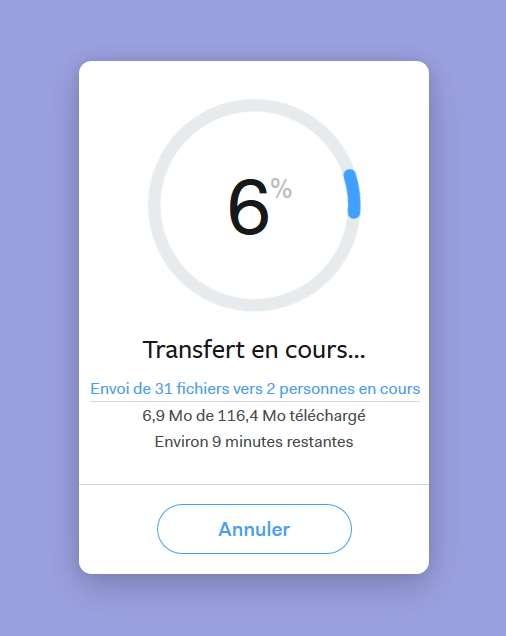 Cliquez sur « Transférer » pour commencer l'envoi. © WeTransfer B.V