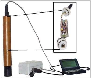 Sonde à radon (l'ordinateur est un HP200LX). © Observatoire Volcanologique du Piton de La Fournaise