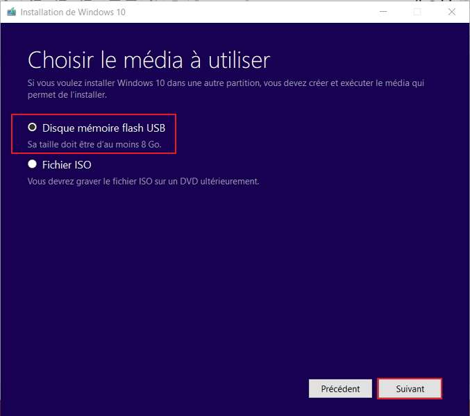 Choisissez Disque Mémoire Flash USB pour créer votre clé USB bootable. © Microsoft