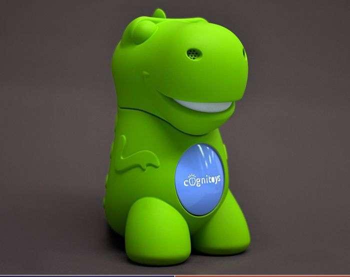 Un jouet connecté à une intelligence artificielle : c'est Dino CogniToys, capable de répondre aux questions des enfants à leur période des « pourquoi ? ». © Elemental Path