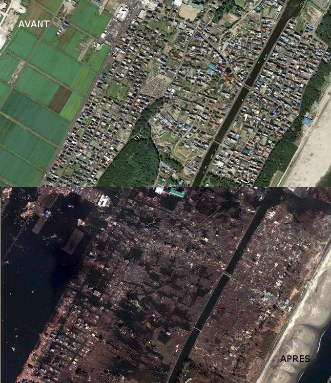 La ville d'Arahama détruite par le tsunami