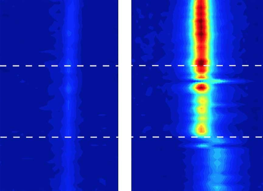 Des images en spectroscopie vibrationnelle — qui permettent de révéler les mouvements des molécules d'eau — ont trahi le comportement de l'eau confinée dans des nanotubes de carbone. À gauche, l'eau sous sa forme liquide. À droite, une eau qui commence à se solidifier au-delà de 100 °C. © Michael Strano, Massachusetts Institute of Technology