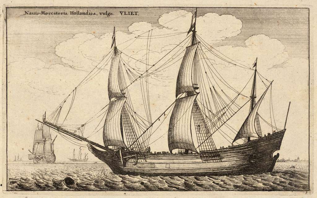 Navire marchand hollandais ou flûte, par Wenceslaus Hollar, XVIIe siècle. Fonds Thomas Fisher, livres rares, bibliothèque de l'Université de Toronto, Canada. © Wikimedia Commons, domaine public