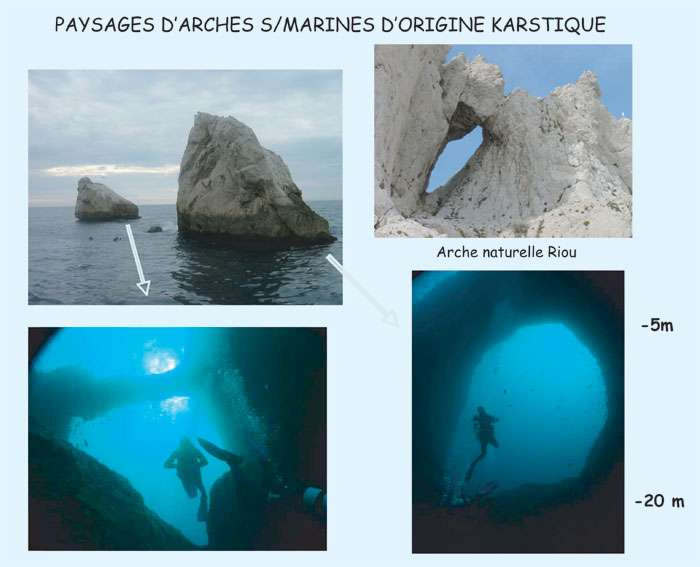 Figure 9. Les célèbres arches sous-marines, exceptionnelles pour la plongée. © J. Collina-Girard