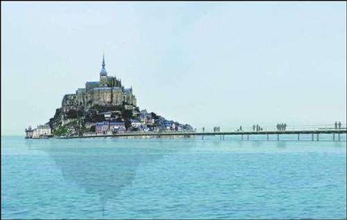 Le pont-passerelle, une jetée vers le Mont-Saint-Michel. © Projet lauréat du concours - Feichtinger architectes, tous droits de reproduction interdits