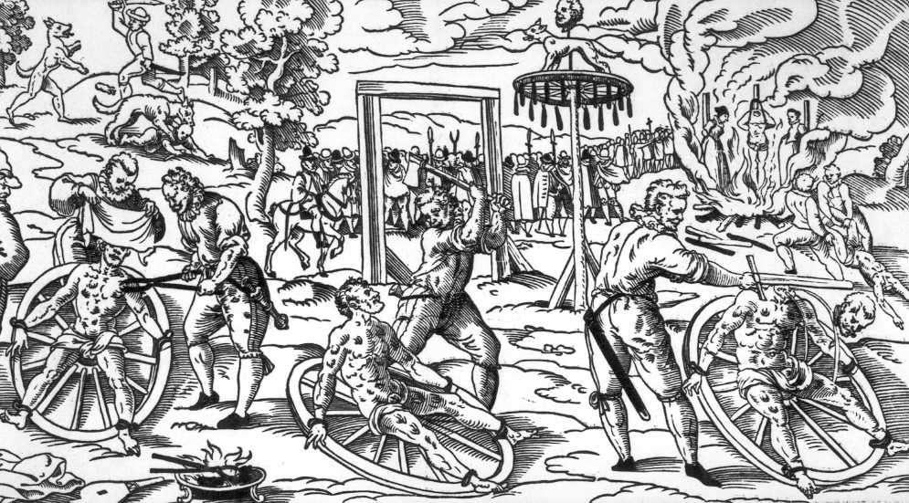 Cette illustration montre l'exécution, en 1589, de Peter Stuube, accusé d'être un loup-garou et les différentes formes de torture qu'il a subies et notamment, la roue telle qu'elle était utilisée en Allemagne au Moyen Âge. Staats-Stadtbibliothek, Augsburg. © Wikimedia Commons, domaine public