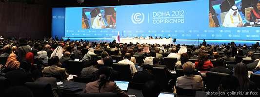 La 18e conférence sur le climat de l'Onu a démarré le 26 novembre 2012. Les 195 pays qui ont ratifié le protocole de Kyoto se sont réunis pour évoquer l'avenir de la planète. L'enjeu principal sera d'arriver à un accord pour prolonger le protocole de Kyoto. © Jan Golinski, UNFCCC