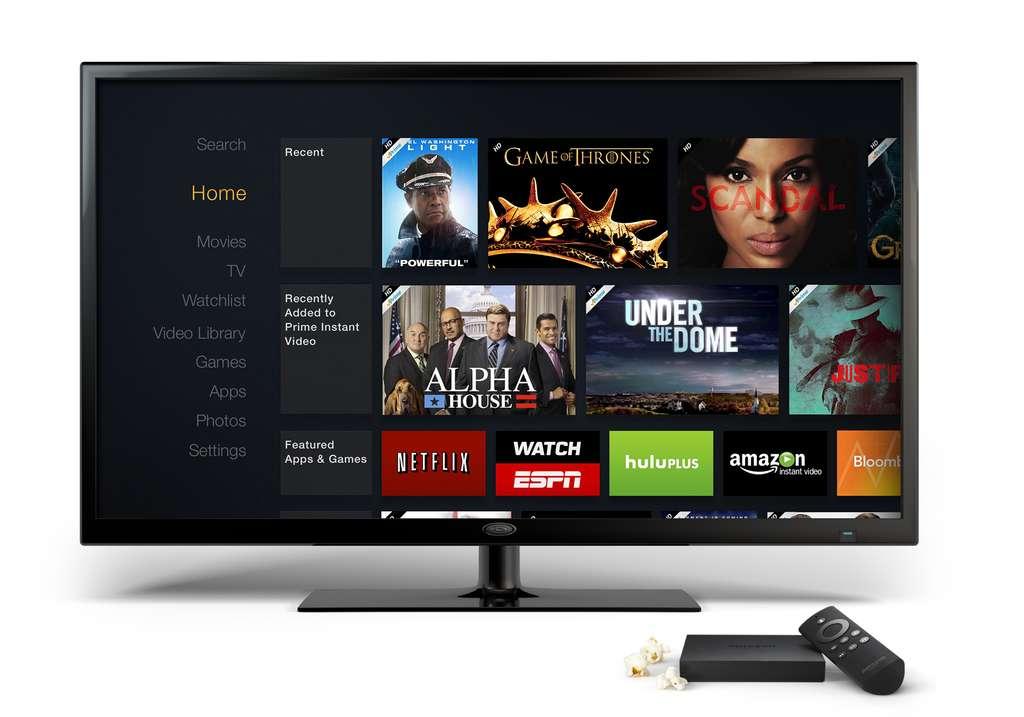 Début avril, Amazon a lancé un boîtier TV permettant de lire des contenus en streaming. Il propose l'accès à différents services de vidéo à la demande et permet aussi de connecter des terminaux mobiles en Wi-Fi. Le Fire TV n'est vendu pour le moment qu'aux États-Unis pour moins de 100 dollars. Un smartphone pourrait compléter l'écosystème d'Amazon, à l'image d'autres géants informatiques. © Amazon