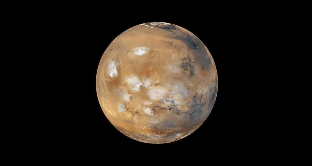 Des nuages de glace d'eau et de glace polaire sur Mars. © Nasa, JPL, Wikimedia commons, DP