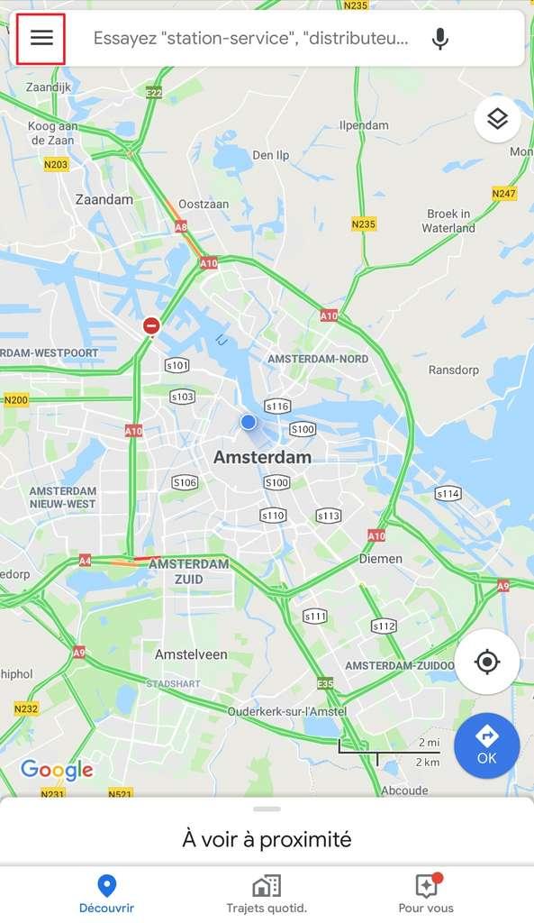 Symbole Menu, sur la page d'accueil. © Google Maps