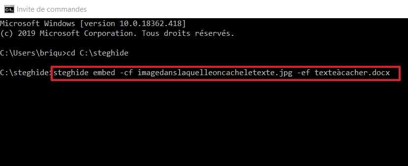 Écrivez la ligne de commande permettant de cacher le fichier Word dans l'image. © Microsoft