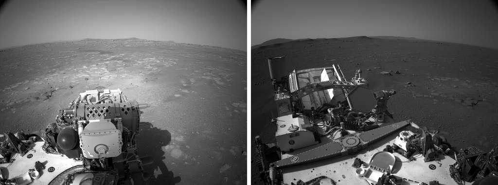 Panorama du site d'atterrissage de Perseverance le 20 février 2021. Ce panorama a été réalisé à partir d'images acquises par les caméras de navigation du rover. © Nasa, JPL