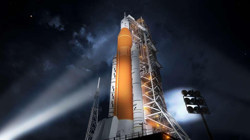 Le futur lanceur lourd SLS de la Nasa mesurera 98 mètres de hauteur. © Nasa