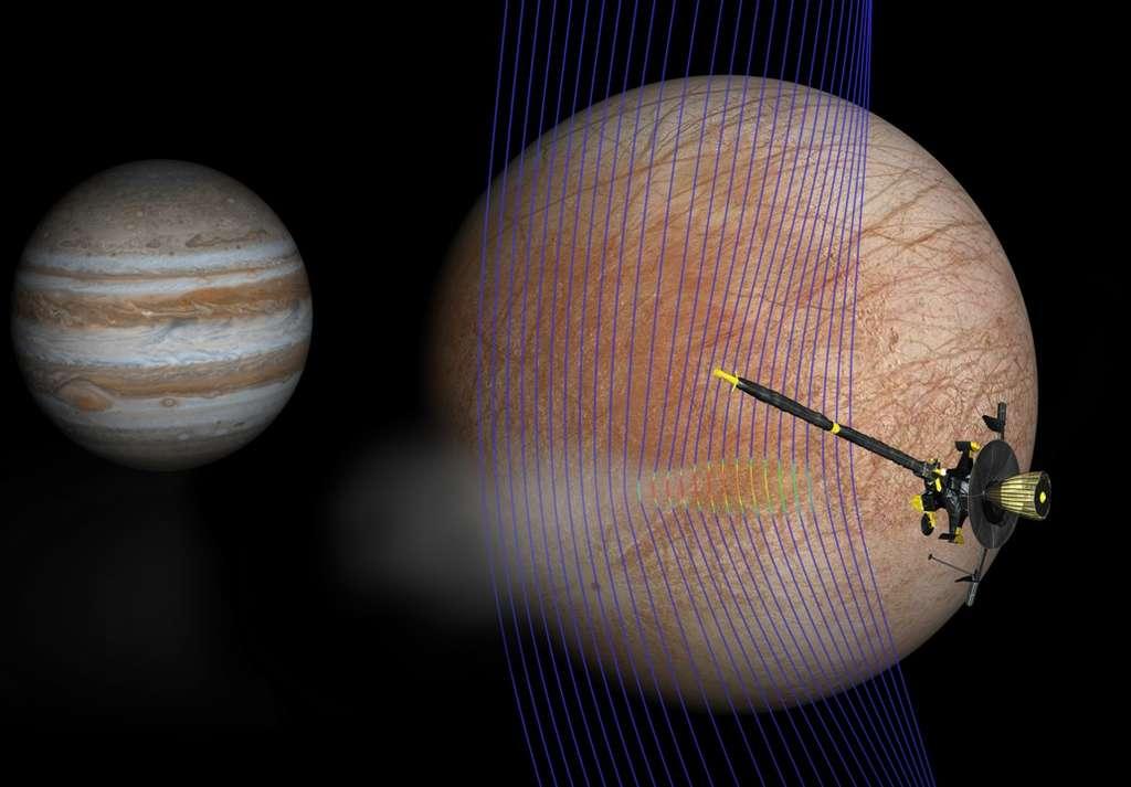 Illustration de l'artiste de Jupiter et Europa (au premier plan) avec le vaisseau spatial Galileo après son passage à travers un panache émergeant de la surface de l'Europe. Une nouvelle simulation informatique donne une idée de la façon dont le champ magnétique interagit avec un panache. Les lignes de champ magnétique (en bleu) montrent comment le panache interagit avec le flux ambiant du plasma jovien. Les couleurs rouges sur les lignes montrent des zones de plasma plus denses. © Nasa, JPL-Caltech, Univ. of Michigan