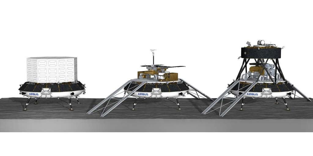 Différents concepts à l'étude d'alunisseur logistique lourd européen (EL3) sous ses différentes configurations, en fonction du scénario de mission (transport de fret, dépose d'un rover, retour d'échantillons lunaires). Cette étude est réalisée par Airbus pour le compte de l'ESA. © Airbus