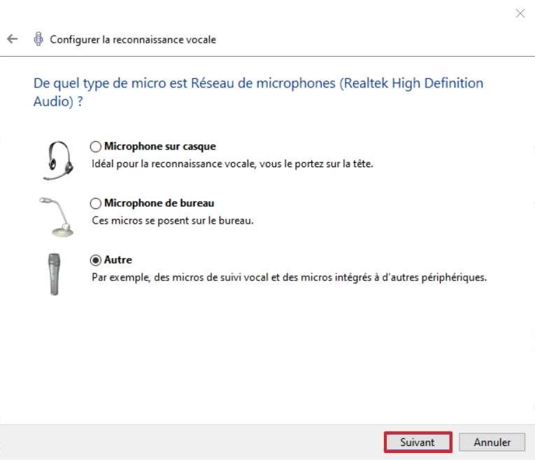 Cliquez sur « Suivant » après avoir sélectionné le type de microphone que vous utilisez. © Microsoft