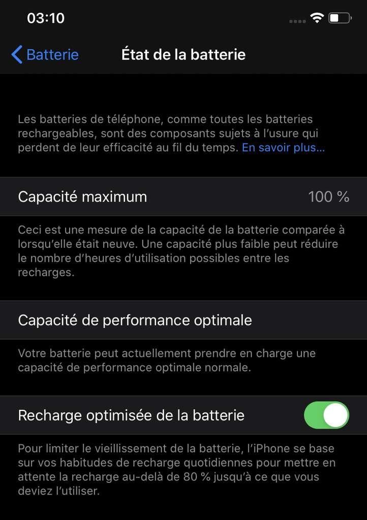 L'iPhone indique la capacité maximum de la batterie, qui peut diminuer après un certain nombre de cycles de recharges. © DR