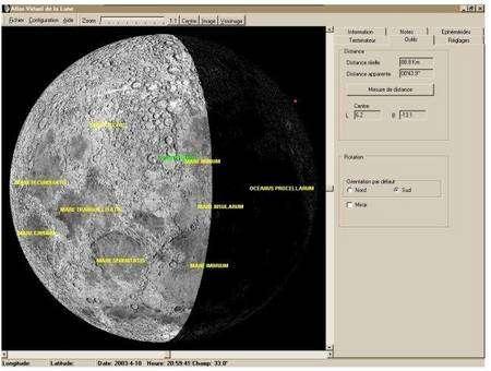 Le logiciel AVL peut afficher la Lune telle qu'elle se présente à une date et une heure données.