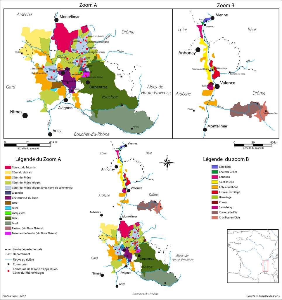 Les régions viticoles du Rhône. © DalGobbom GNU 1.2