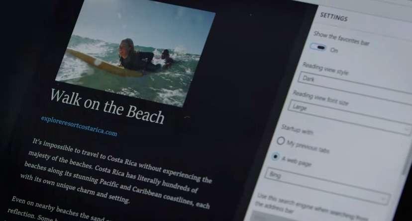 Microsoft vient tout juste d'introduire son nouveau navigateur Project Spartan dans la dernière préversion d'essai de Windows 10. Ce butineur à l'esthétique résolument dépouillée (ici le mode lecture) cohabitera dans un premier temps avec Internet Explorer avant de le remplacer. © Microsoft, YouTube