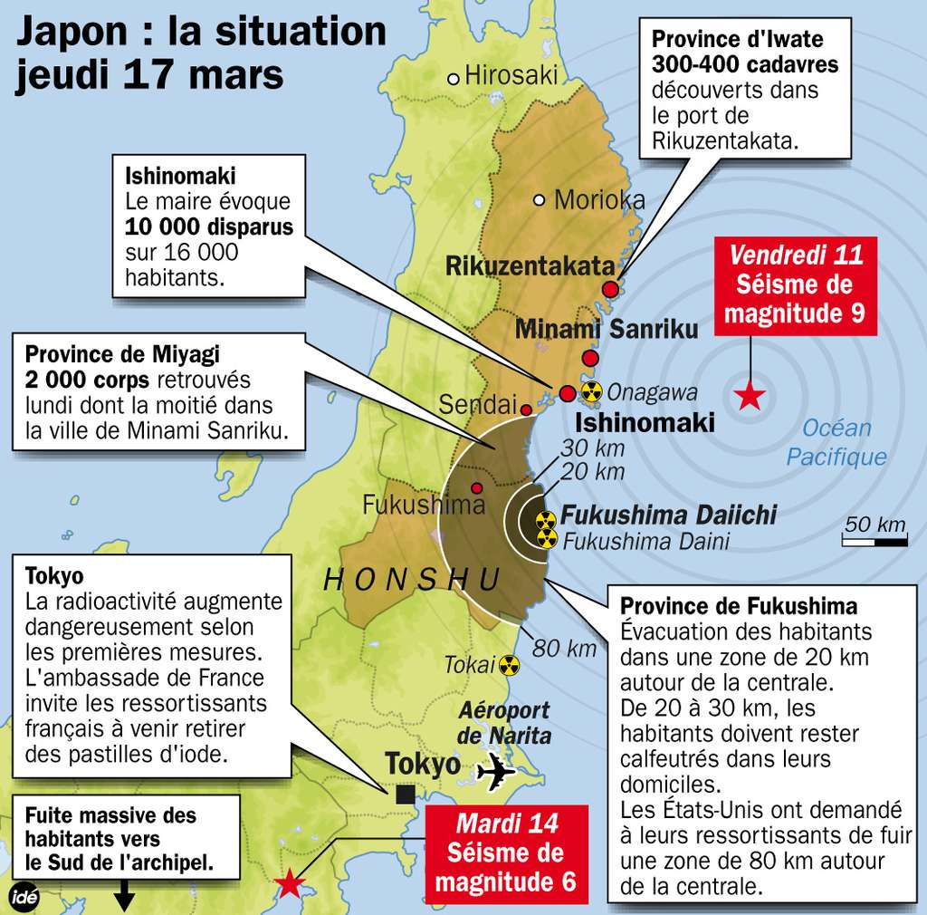 Les points clés de la situation au Japon, entre victimes du séisme ou du tsunami et menace nucléaire. © Idé