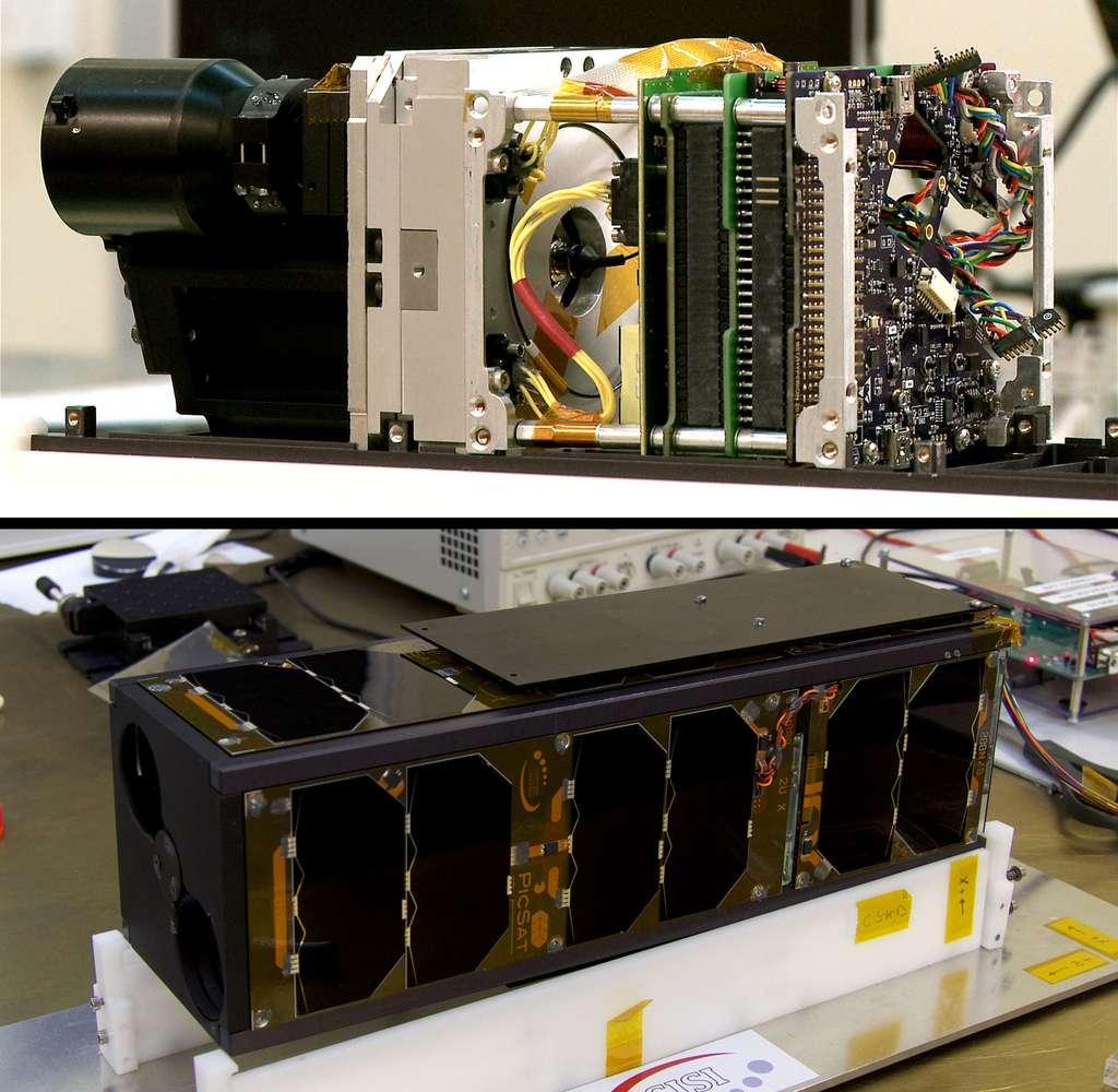 L'intérieur de PicSat et le satellite en fin d'assemblage. Il est au format CubeSat et constitué de trois unités. Chacune mesure 10 x 10 x 10 cm et est dédiée à une fonction précise. PicSat pèse seulement 3,5 kg et sa consommation électrique, d'environ 5 W, équivaut à celle d'une ampoule économique. © Observatoire de Paris