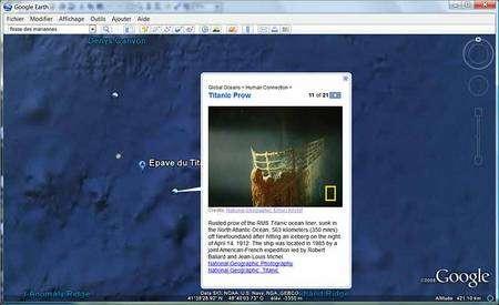 Des détails complémentaires sont ajoutés, provenant de différentes institutions, comme, ici, le National Geographic. (Copie d'écran Google Earth Ocean)