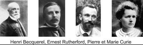 De gauche à droite : Henri Becquerel, Ernest Rutherford, Pierre et Marie Curie. © DR