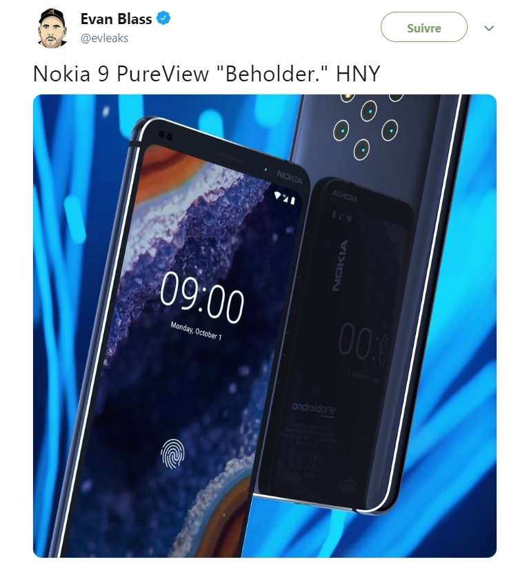 Voici les premières images du Nokia 9 Pureview avec ses cinq capteurs disposés de façon hexagonale avec le module du flash. © Capture compte Twitter Evan Blass