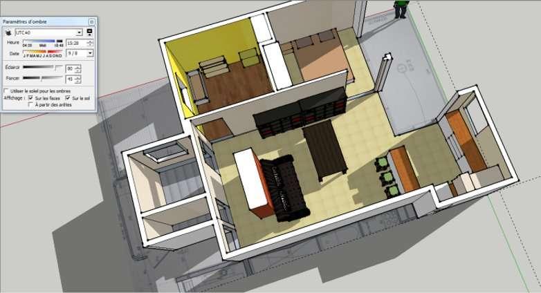 Pour réaliser ses plans en 3D, on peut utiliser Google Sketchup, Sweet Home 3D ou Architecte 3D. Ici, exemple de seconde visualisation d'ensoleillement avec le logiciel Google Sketchup. © Google Sketchup
