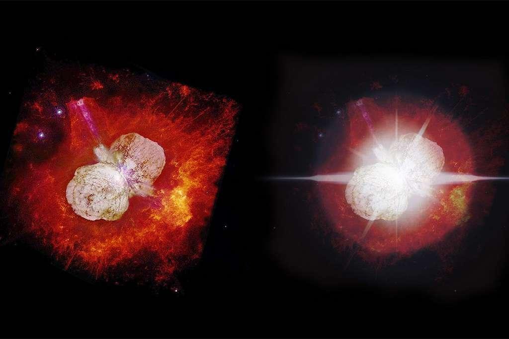 La dissipation d'un nuage de poussière qui nous cache partiellement Eta Carinae pourrait permettre aux chercheurs d'accéder enfin à la véritable nature de la région centrale de l'étoile. Ici, à gauche, Eta Carinae prise par le télescope spatial Hubble et à droite, l'étoile telle qu'elle pourrait nous apparaître d'ici 2032. © N. Smith et J. A. Morse, Nasa