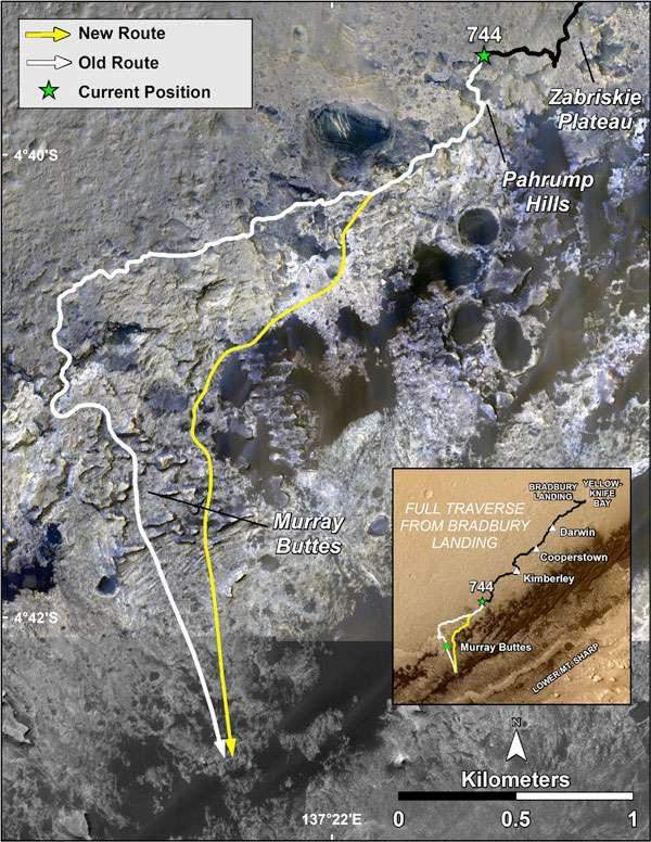 En jaune, le tracé de la nouvelle route de Curiosity pour explorer le mont Sharp. © Nasa, JPL