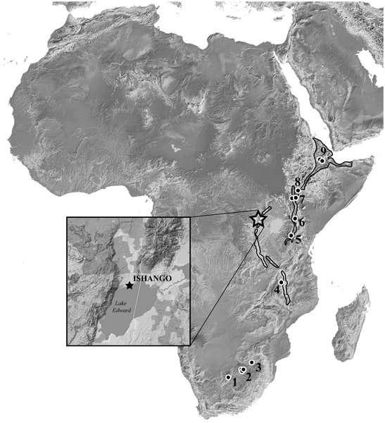 Localisation d'Ishango (étoile) et d'autres sites africains où des fossiles d'hominidés de la période de transition Plio-Pléistocène ont été trouvés (Australopithecus africanus, A. garhi, A. sediba, Homo habilis, H. rudolfensis, Paranthropus aethiopicus, P. boisei, P. robustus). Taung a été découvert en (1) (Afrique du Sud), Drimolen, Gladysvale, Gondolin, Kromdraai et Swartkrans en (2) (Afrique du Sud), Malapa en (3) (Afrique du Sud), Malema et Uraha en (4) (Malawi), Olduvai en (5) (Tanzanie), Chemeron en (6) (Kenya), Turkana et Koobi Fora en (7) (Kenya), Omo en (8) (Éthiopie) et Bouri et Hadar en (9) (Éthiopie). © Crèvecœur et al., 2014, Plos One