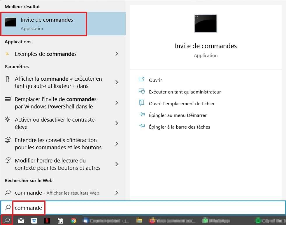 Recherchez l'invite de commandes. © Microsoft