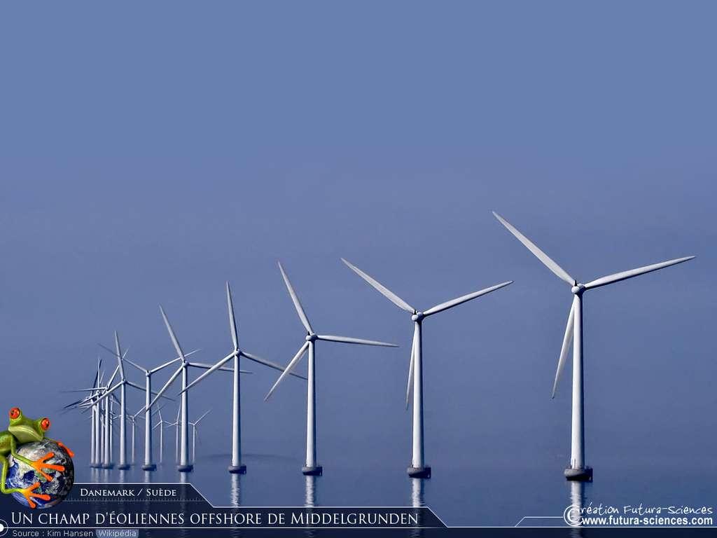 Champ d'éoliennes offshore