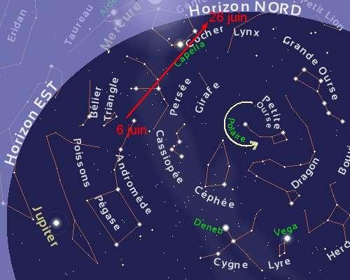 Carte réalisée à partir du site stelvision.com permettant de visualiser la trajectoire de C/2009 R1 pendant le mois de juin sur l'horizon est à l'aube. Crédit stelvision.com