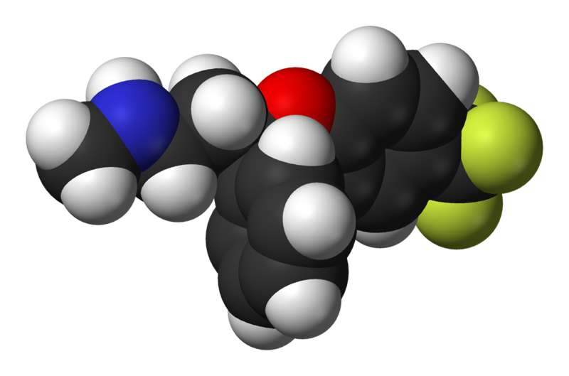 Le Prozac (ou fluoxétine) augmente la quantité de sérotonine dans le cerveau en reprogrammant les cellules noradrénergiques. Crédits DR