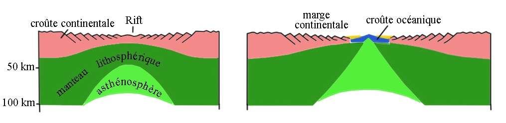 Ce schéma représente le processus de formation d'un rift, à l'origine de l'océanisation. L'extension progressive de la lithosphère conduit à la rupture continentale. © D'après Gilbert Boillot, 2003