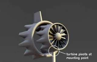 Comme une girouette, la turbine s'aligne d'elle-même dans l'axe du vent. © FloDesign Wind Turbine