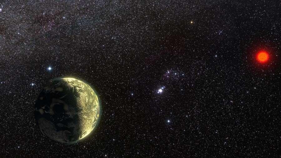 Illustration de la superterre GJ 411b. Son étoile hôte, distante de seulement 8,1 années-lumière, est plus de deux fois moins massive que notre Soleil. © Ricardo Ramirez