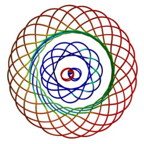 Lors d'une collision frontale entre deux trous noirs, des lignes de champs entrelacées, liées à la vorticité d'un fluide s'il était présent, sont éjectées par paquets formant des tores. Il y a une analogie avec les ronds de fumée qui sont aussi formés par des lignes de vorticité. © The Caltech/Cornell SXS Collaboration