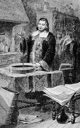 Evangelista Torricelli inventant le baromètre à mercure. © DP