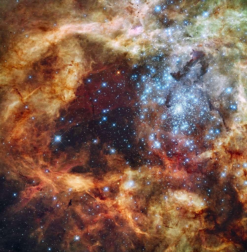 Image du superamas d'étoiles R136, près du centre de la Nébuleuse de la Tarentule (NGC 2070), obtenue avec le télescope spatial Hubble. © Nasa/ESA, domaine public