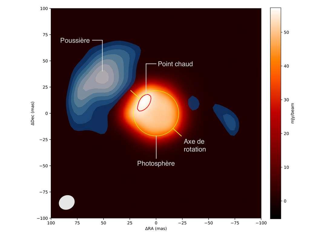 Coïncidence entre le point chaud dans la zone polaire de Bételgeuse et un panache de perte de masse. L'image centrale (teintes orangées) montre la surface de l'étoile et la présence d'un point chaud. Les tons bleus indiquent la présence de poussière créée à partir de la matière éjectée par l'étoile. © Pierre Kervella