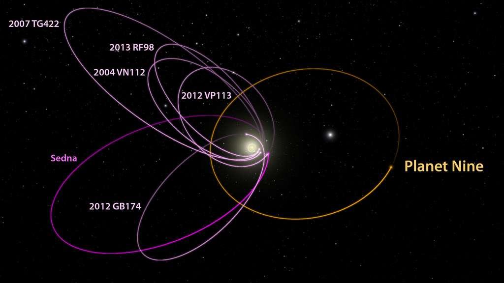 Sur ce diagramme, on constate que les axes des orbites des plus lointains corps de la ceinture de Kuiper connus (comme Sedna) sont étrangement regroupés dans des directions voisines mais aussi que, sur leurs orbites, ces corps eux-mêmes sont rassemblés dans une région. Selon les chercheurs, de telles caractéristiques n'ont que 0,007 % de chance d'être l'œuvre du hasard. Cependant, elles s'expliquent très bien en postulant dans des simulations numériques un corps céleste d'environ 10 fois la masse de la Terre sur une orbite opposée aux précédentes et actuellement éloigné des autres objets, comme le montre le dessin de l'artiste. Il s'agirait de la Planète 9, Planet Nine en anglais. C'est son champ de gravitation qui piègerait en quelque sorte les orbites des petites planètes, les empêchant de dériver pour adopter des caractéristiques dispersées. © Caltech/R. Hurt (IPAC)