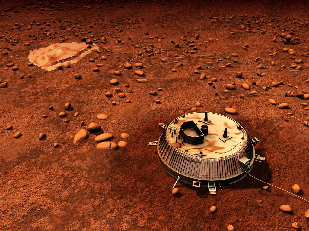 Une vue d'artiste du module Huygens sur Titan. Cela fait 8 ans que le module de l'Esa a touché le sol de la planète, nous transmettant brièvement quelques images. © Esa, C. Carreau